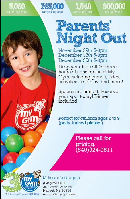 mygym nanuet parents night out rockland ny mom