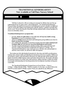 TRANSITIONAL KINDERGARTEN FLIER TALL PINES