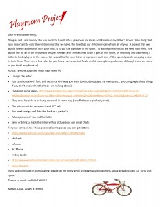 Playroom Project Letter