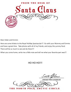 Tickets to Royal Spectacular Letter