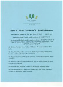Luigis Family Dinner Flyer